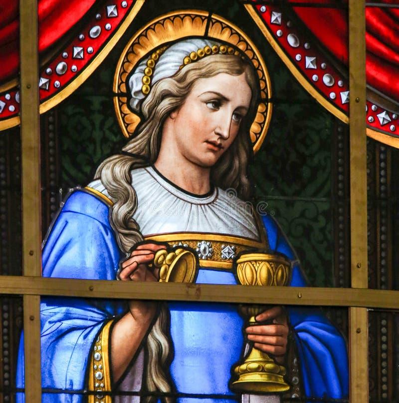 Gebrandschilderd glas - Allegorie op het Lijden van Jesus royalty-vrije stock afbeeldingen