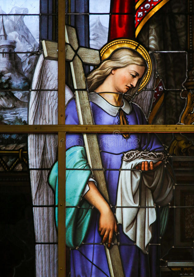 Gebrandschilderd glas - Allegorie op het Lijden van Jesus royalty-vrije stock foto
