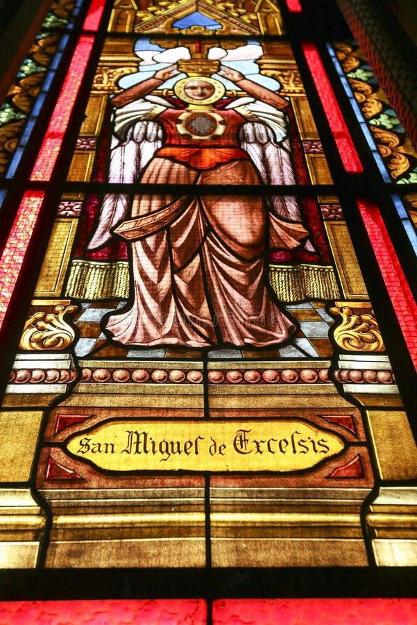 Gebrandschilderd glas binnen de Capuchins Kerk, Argentinië stock afbeeldingen
