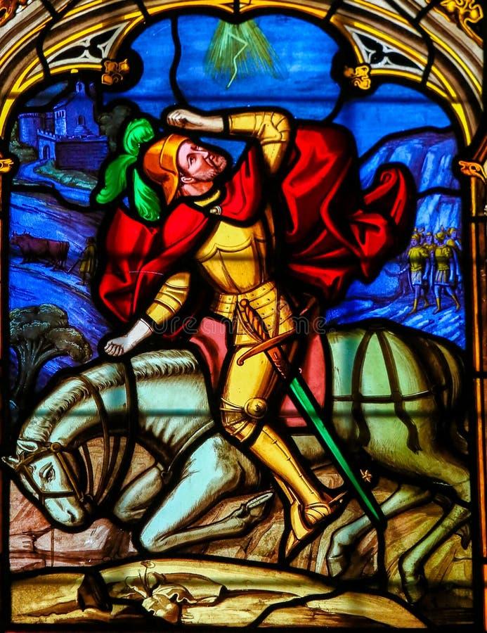 Gebrandschilderd glas in de Kathedraal van Bayeux royalty-vrije stock afbeelding