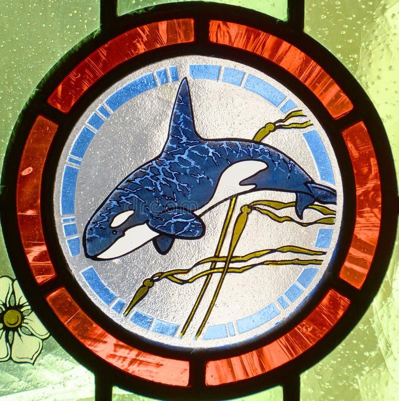 Gebrandschilderd glas, detail van wetgevende gebouwen stock fotografie
