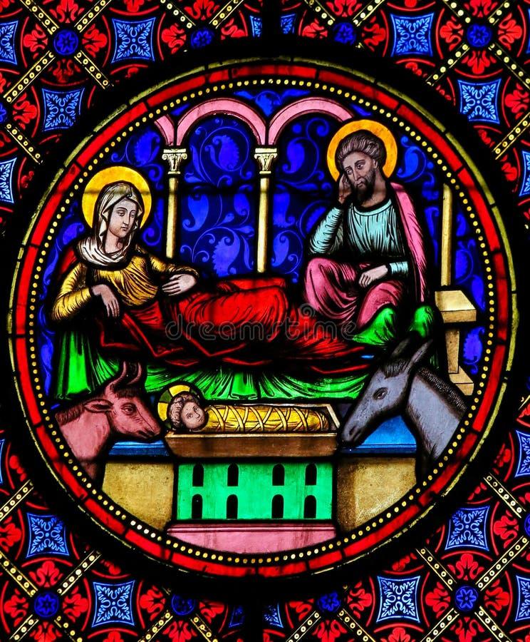Gebrandschilderd glas - Geboorte van Christusscène bij Kerstmis stock illustratie