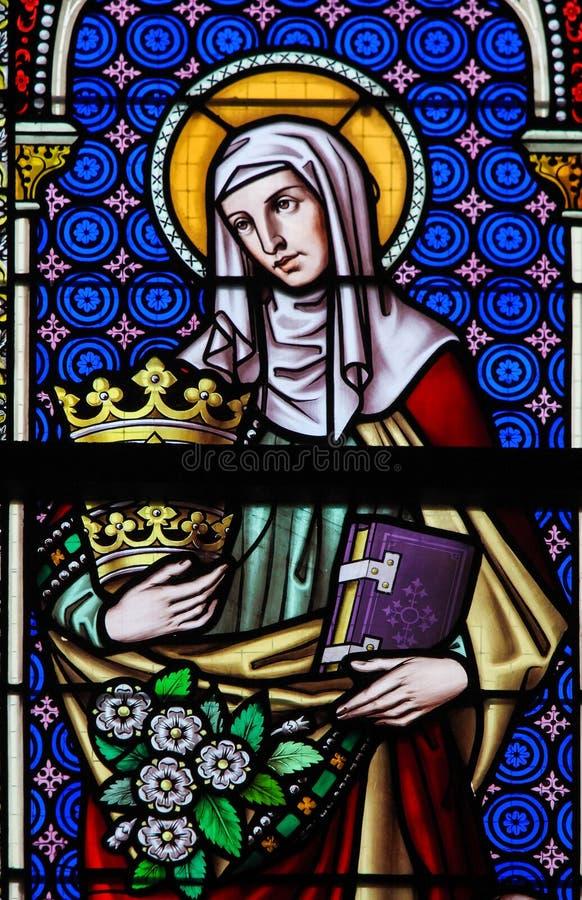 Gebrandschilderd glas - Heilige Elizabeth, Koningin van Hongarije stock foto