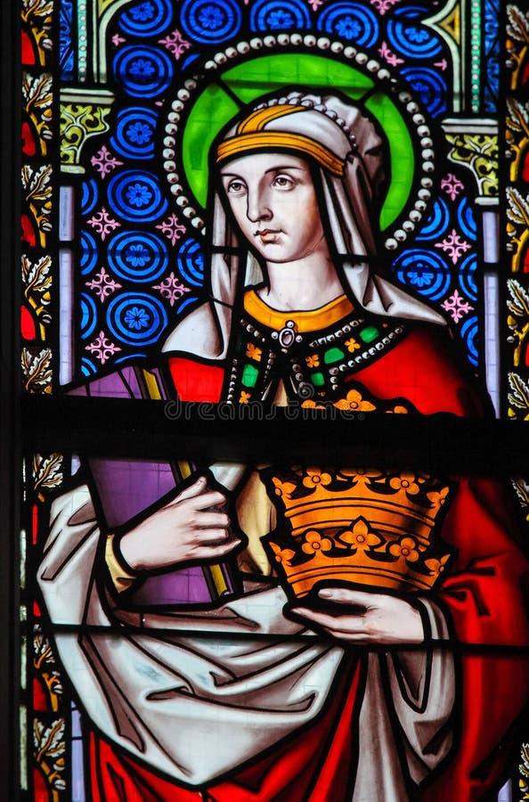 Gebrandschilderd glas - Heilige Elizabeth, Koningin van Hongarije royalty-vrije stock foto