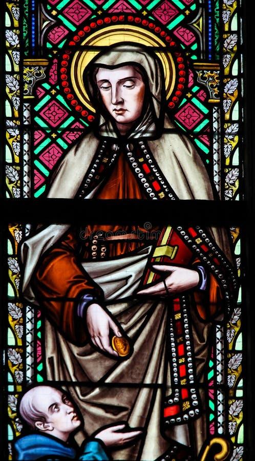Gebrandschilderd glas - Heilige Frances van Rome of Santa Francesca Romana royalty-vrije stock fotografie