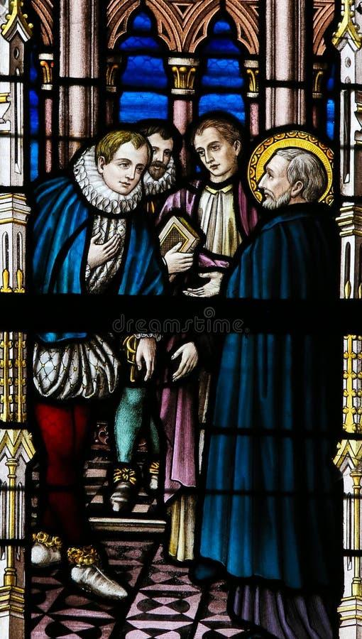 Gebrandschilderd glas - Heilige Francis Xavier en Martim Alfonso de Souza royalty-vrije stock fotografie