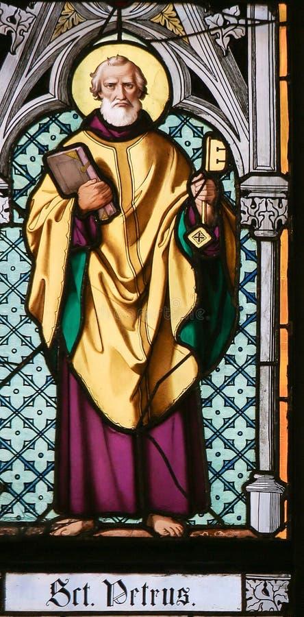 Gebrandschilderd glas - Heilige Peter stock foto