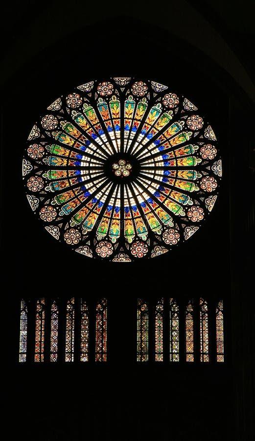 Gebrandschilderd glas in kathedraal - Straatsburg royalty-vrije stock foto's