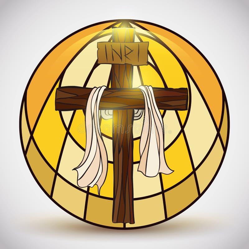 Gebrandschilderd glas met Heilig Dwars binnen Symbool, Vectorillustratie royalty-vrije illustratie