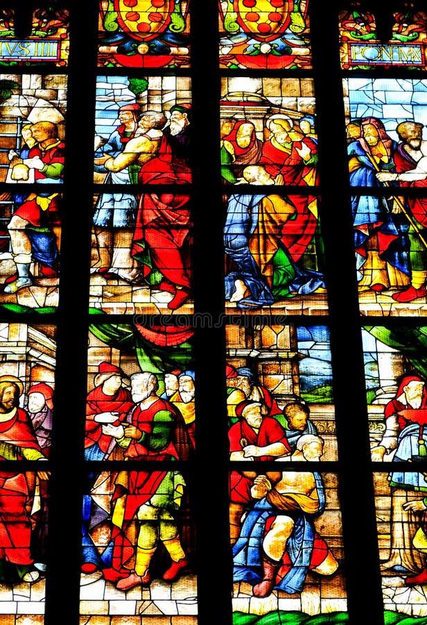 Gebrandschilderd glas in Milaan, Italië stock fotografie