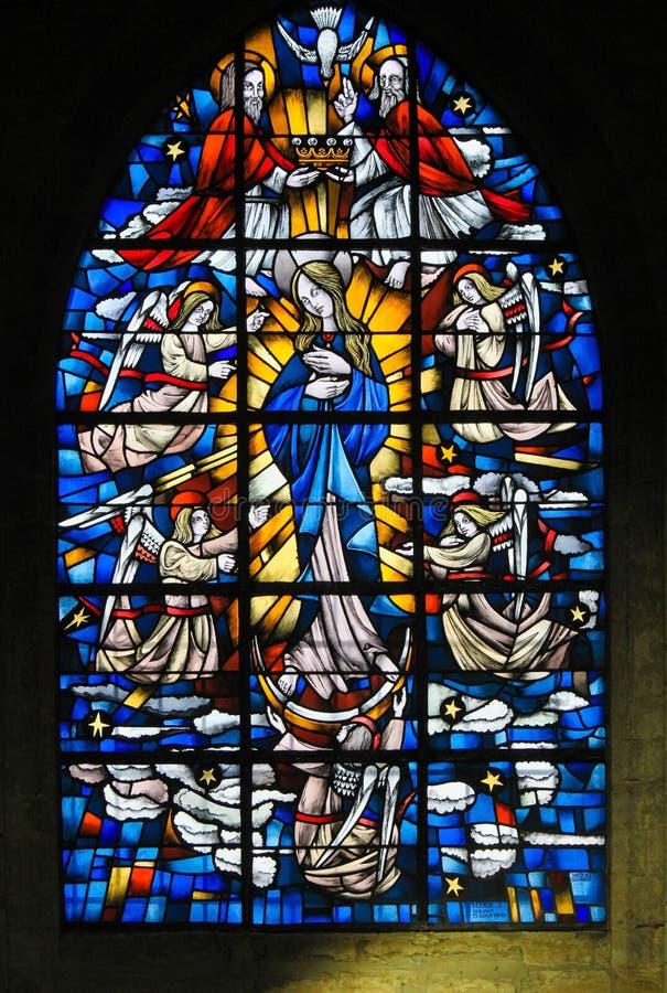 Gebrandschilderd glas - Moeder Mary royalty-vrije stock foto