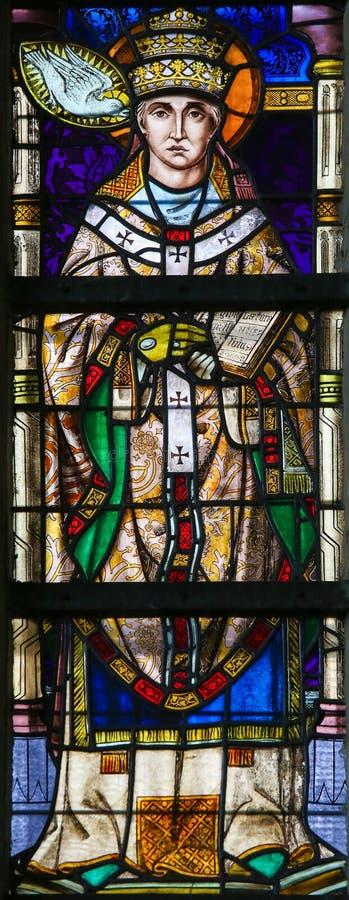 Gebrandschilderd glas - Paus Heilige Gregory I stock afbeelding