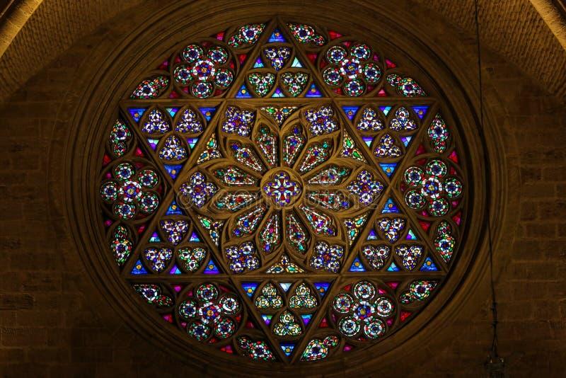 Gebrandschilderd glas, Rose Window in Valencia Cathedral royalty-vrije stock afbeeldingen