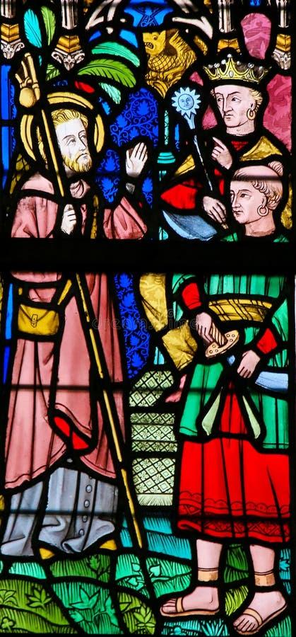 Gebrandschilderd glas - St Francis Xavier stock afbeeldingen