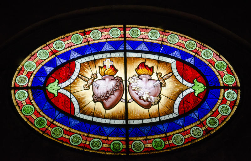Gebrandschilderd glas van heilig hart royalty-vrije stock afbeeldingen
