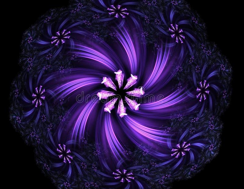Gebrandschilderd glasbloem of vlinder, digitaal fractal kunstontwerp royalty-vrije illustratie