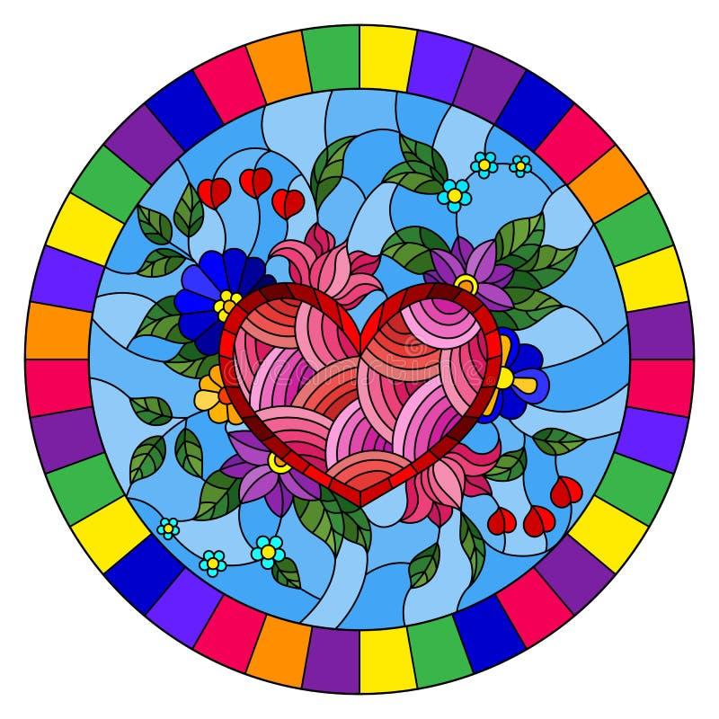 Gebrandschilderd glasillustratie met abstract hart en bloemen op blauwe achtergrond in een helder kader, rond beeld stock illustratie