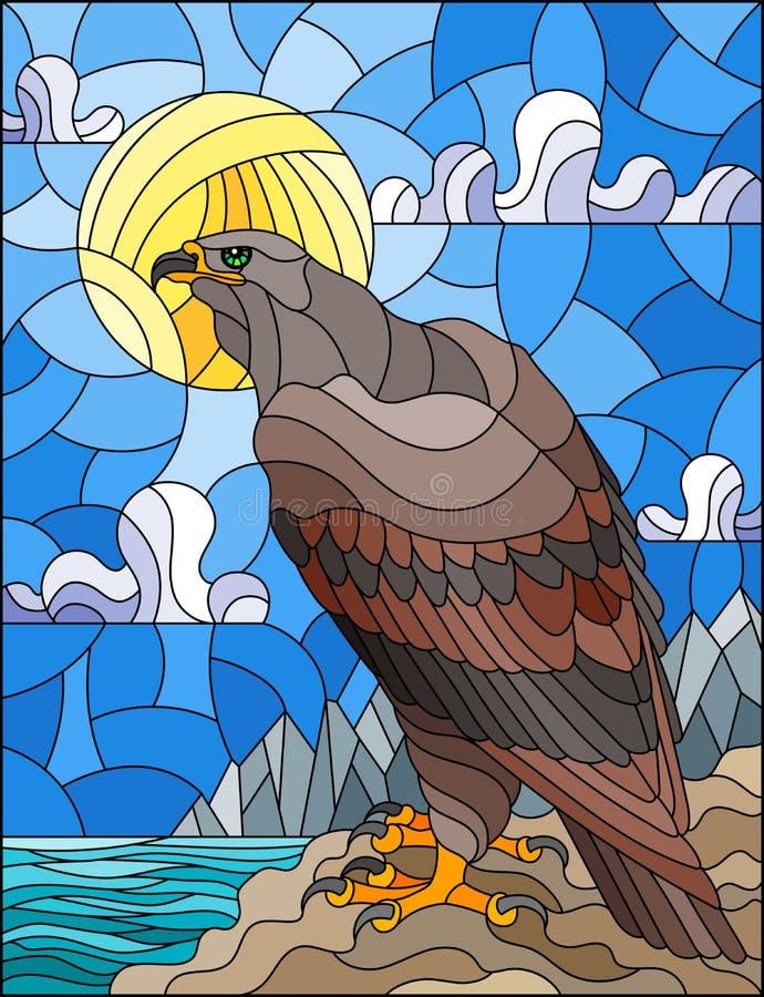 Gebrandschilderd glasillustratie met abstracte adelaar op landschapsachtergrond met bergen, overzees en hemel royalty-vrije illustratie