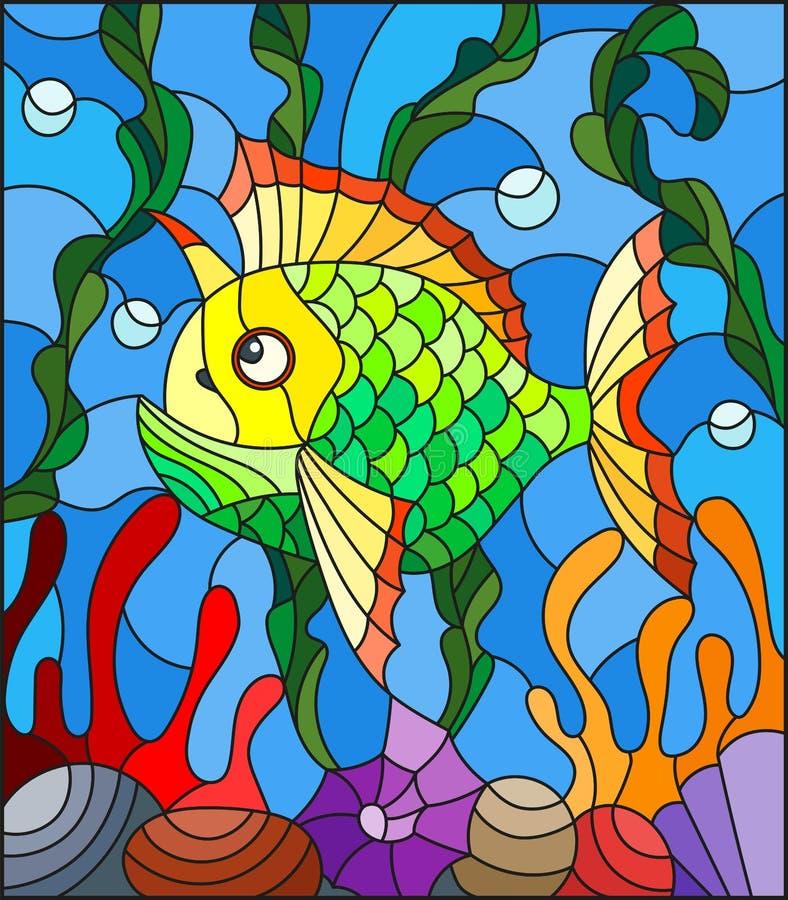 Gebrandschilderd glasillustratie met abstracte kleurrijke exotische vissen amid zeewier, koraal en shells vector illustratie