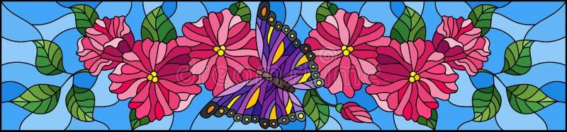 Gebrandschilderd glasillustratie met abstracte krullende roze bloemen en purpere vlinder op blauwe achtergrond, horizontaal beeld stock illustratie