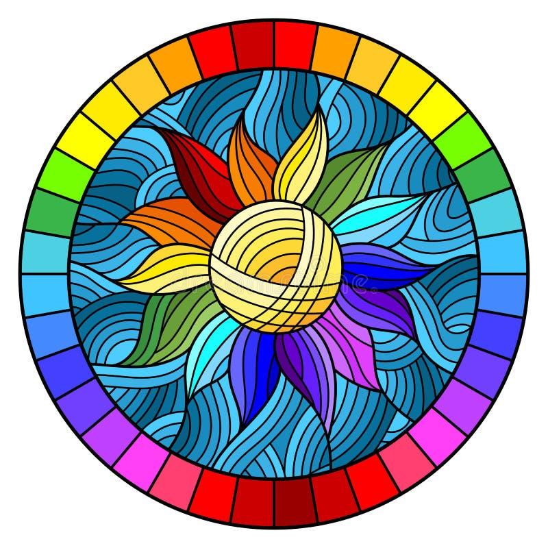 Gebrandschilderd glasillustratie met abstracte regenboogbloem op blauwe achtergrond in helder kader, rond beeld vector illustratie