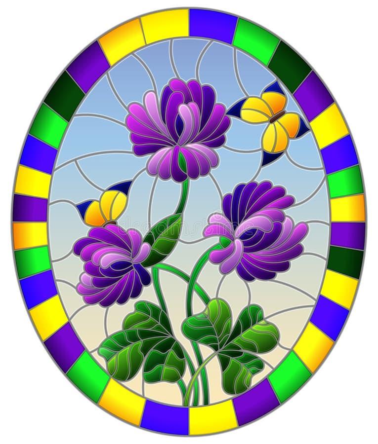 Gebrandschilderd glasillustratie met bloem van purpere klaver en vlinders op een blauwe hemelachtergrond in een helder kader, ova vector illustratie