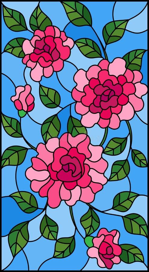 Gebrandschilderd glasillustratie met bloemen, knoppen en bladeren van roze rozen op een blauwe achtergrond vector illustratie
