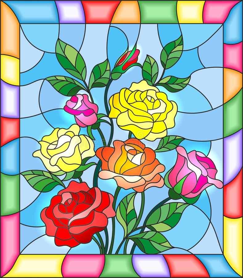 Gebrandschilderd glasillustratie met bloemen, knoppen en bladeren van rozen op een blauwe achtergrond stock illustratie