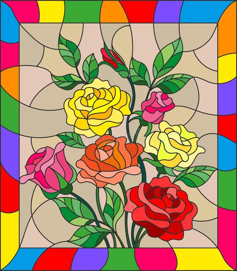 Gebrandschilderd glasillustratie met bloemen, knoppen en bladeren van rozen op een bruine achtergrond vector illustratie