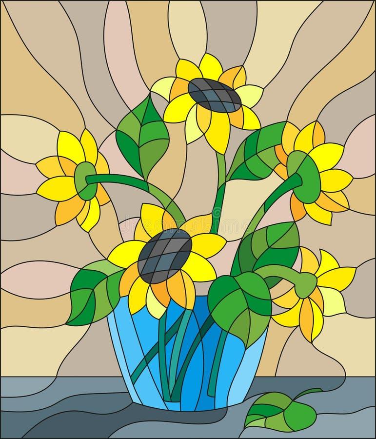 Gebrandschilderd glasillustratie met boeketten van zonnebloemen in een blauwe vaas op lijst aangaande beige achtergrond vector illustratie