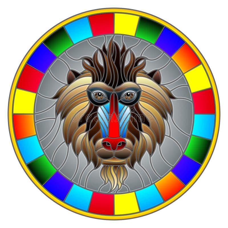 Gebrandschilderd glasillustratie met een aap` s hoofd, een cirkelbeeld met helder kader royalty-vrije illustratie