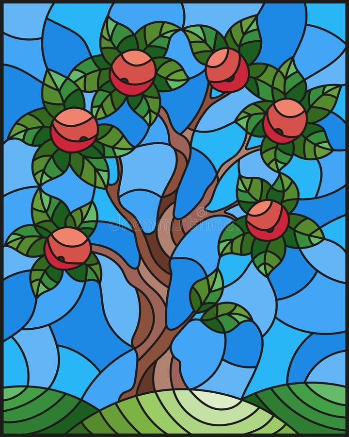 Gebrandschilderd glasillustratie met een appelboom die zich alleen op een heuvel tegen de hemel bevinden royalty-vrije illustratie