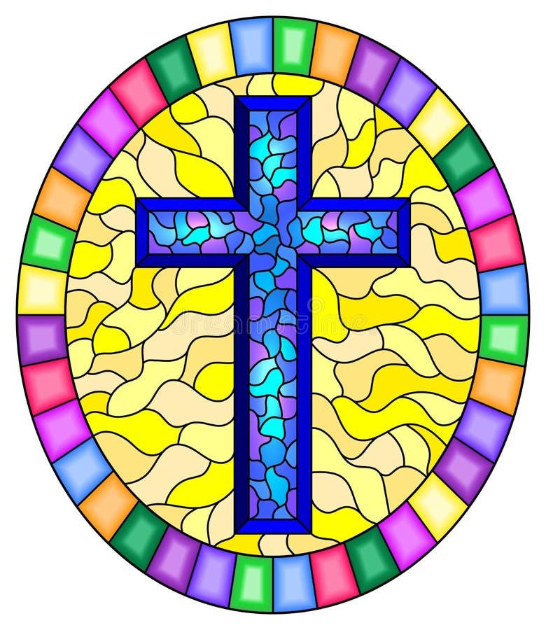 Gebrandschilderd glasillustratie met een blauw kruis op een abstracte gele achtergrond, ovale omlijsting in helder royalty-vrije illustratie
