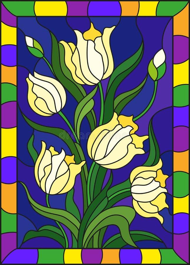 Gebrandschilderd glasillustratie met een boeket van gele tulpen op een blauwe achtergrond in een helder kader, rechthoekbeeld royalty-vrije illustratie