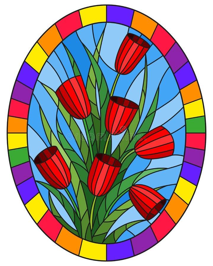 Gebrandschilderd glasillustratie met een boeket van rode tulpen op een blauwe achtergrond in een helder kader, ovaal beeld royalty-vrije illustratie