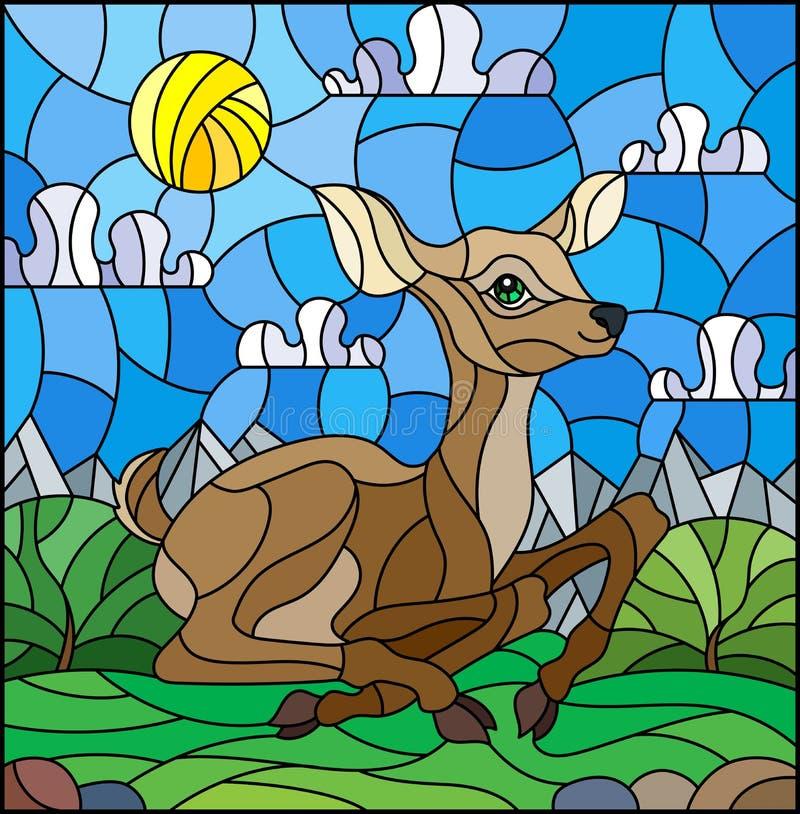 Gebrandschilderd glasillustratie met een fawn op de achtergrond van groene weiden, bergen en bewolkte hemel royalty-vrije illustratie