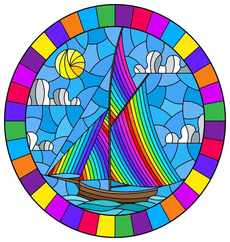 Gebrandschilderd glasillustratie met een oud schip die met regenboogzeilen tegen het overzeese en zon ovale beeld in een helder k stock illustratie