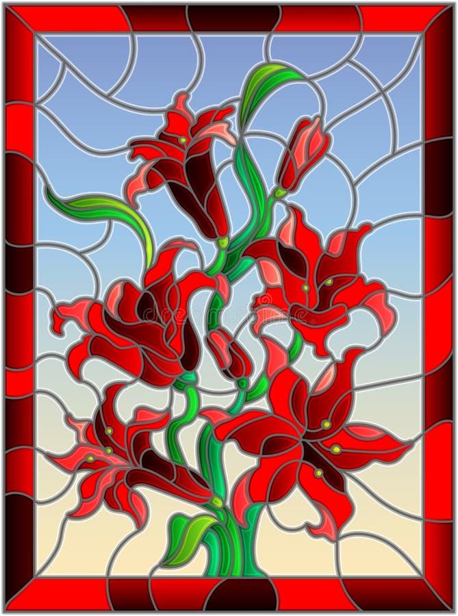 Gebrandschilderd glasillustratie met een tak van rode lelies op een hemelachtergrond, verticaal beeld in helder kader royalty-vrije illustratie