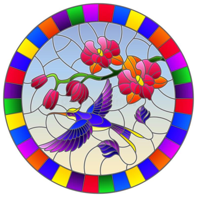 Gebrandschilderd glasillustratie met een tak van roze Orchidee en heldere Kolibrie op een hemelachtergrond, rond beeld in helder  vector illustratie