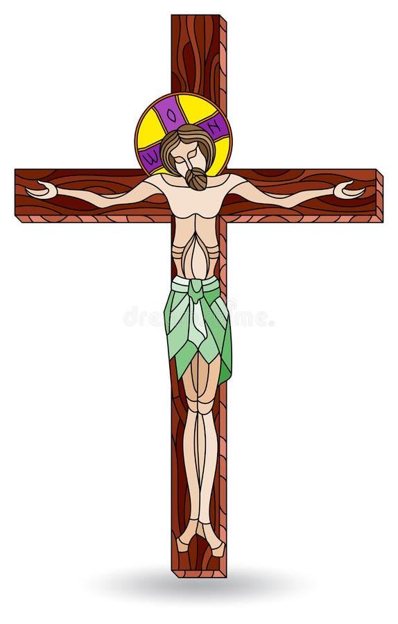 Gebrandschilderd glasillustratie met kruisiging en Jesus Christ, op witte achtergrond wordt geïsoleerd die vector illustratie