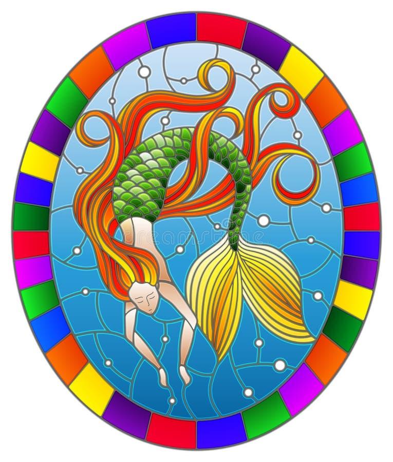 Gebrandschilderd glasillustratie met meermin met lang rood haar op water en luchtbellenachtergrond, ovaal beeld in helder kader,  royalty-vrije illustratie