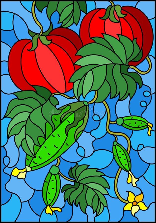 Gebrandschilderd glasillustratie met plantaardige samenstelling, rijpe tomaten, komkommers en bladeren op een blauwe achtergrond vector illustratie