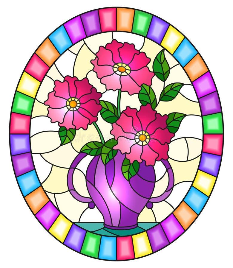 Gebrandschilderd glasillustratie met stilleven, boeket van roze bloemen in een purpere vaas, ovaal beeld in helder kader stock illustratie
