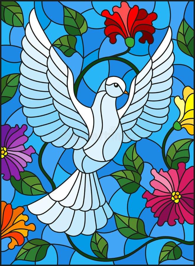 Gebrandschilderd glasillustratie met vliegende witte duif op purpere achtergrond met bloemen, ovaal beeld in helder kader vector illustratie