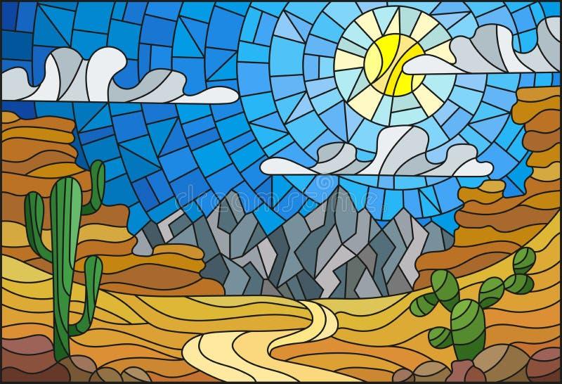 Gebrandschilderd glasillustratie met woestijnlandschap, cactus in een lbackground van duinen, hemel en zon vector illustratie