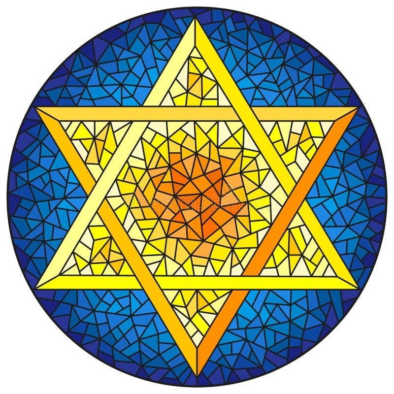 Gebrandschilderd glasillustratie met zes-gerichte ster van David, gele ster op een blauwe achtergrond, rond beeld vector illustratie