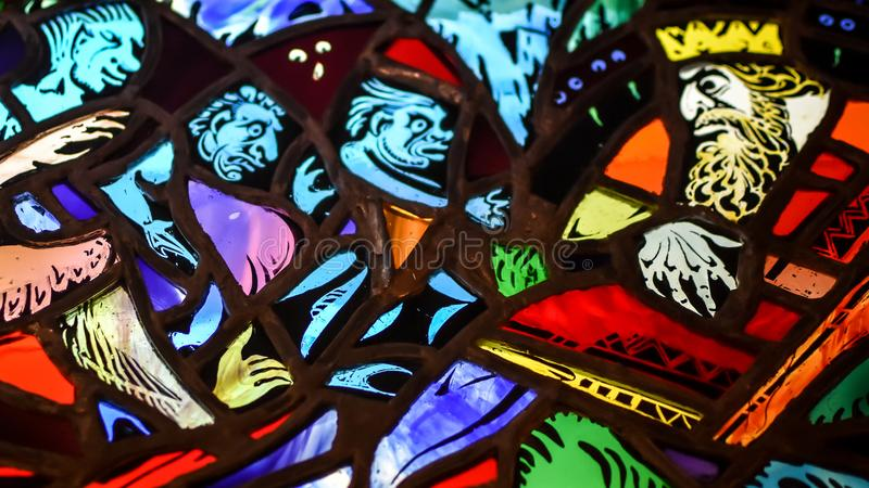 Gebrandschilderd glaskoning en Drie Bedienden royalty-vrije stock foto's