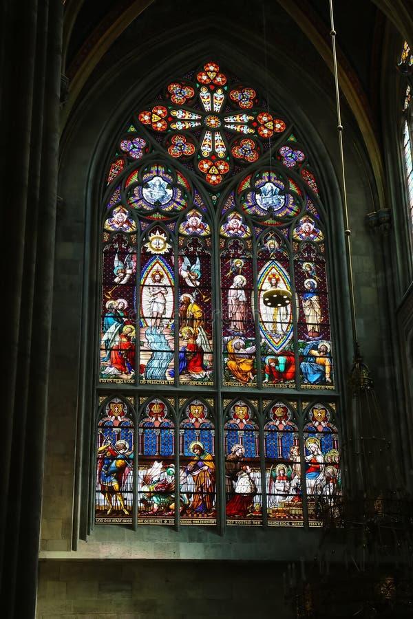 Gebrandschilderd glaskunst in Wien royalty-vrije stock afbeelding