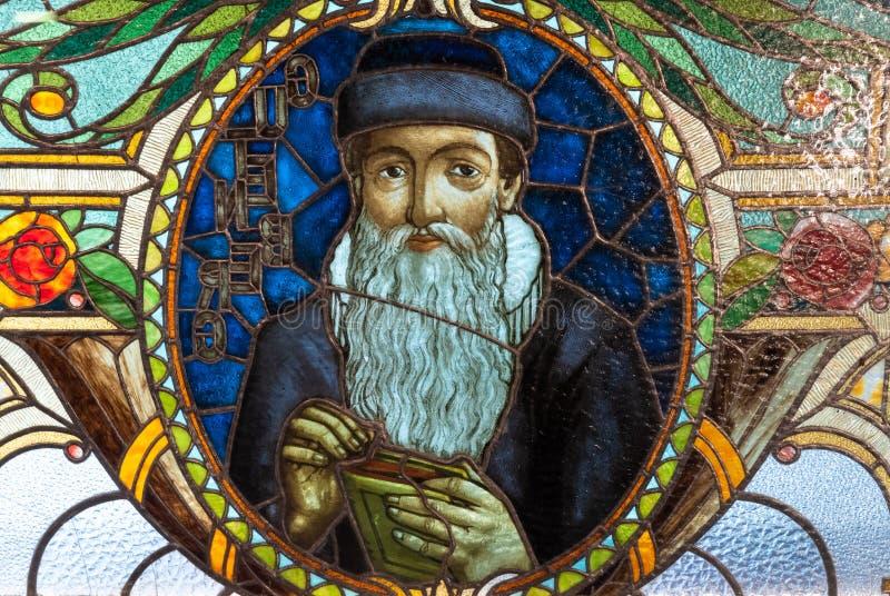 Gebrandschilderd glasmuurschildering van Johannes Gutenberg royalty-vrije stock foto's