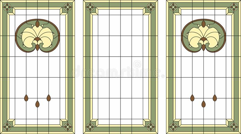 Gebrandschilderd glaspaneel in een rechthoekig kader Het klassieke venster, vat bloemenregeling van knoppen en bladeren in Jugend royalty-vrije illustratie